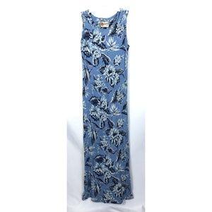 Hilo Hattie Blue Hawaiian Print Maxi Dress Size S